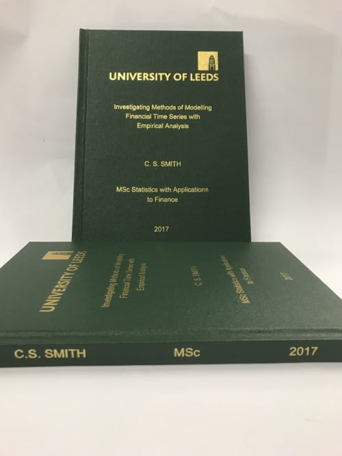 Softback binding of University of Manchester MSc, MA etc. dissertations